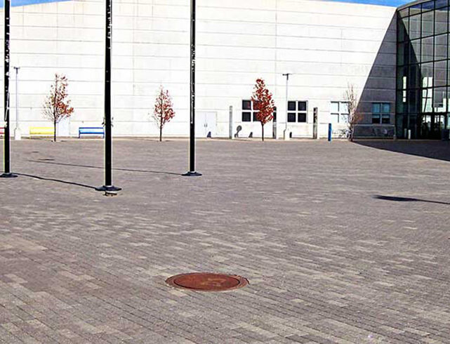 Exploration Place in Wichita, KS: Interlocking paver installation