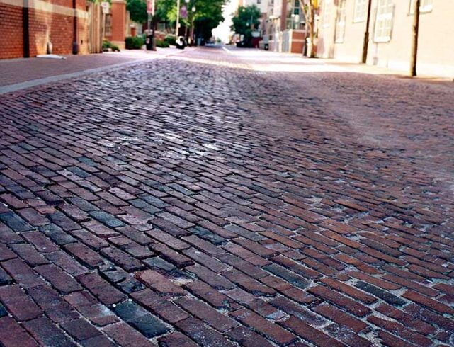Old Town in Wichita, KS: Reclaimed clay pavers/interlocking concrete pavers