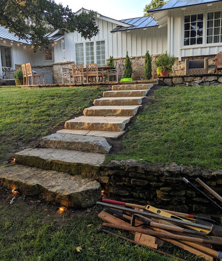 Stone stairway/driveway installation near Andover, KS