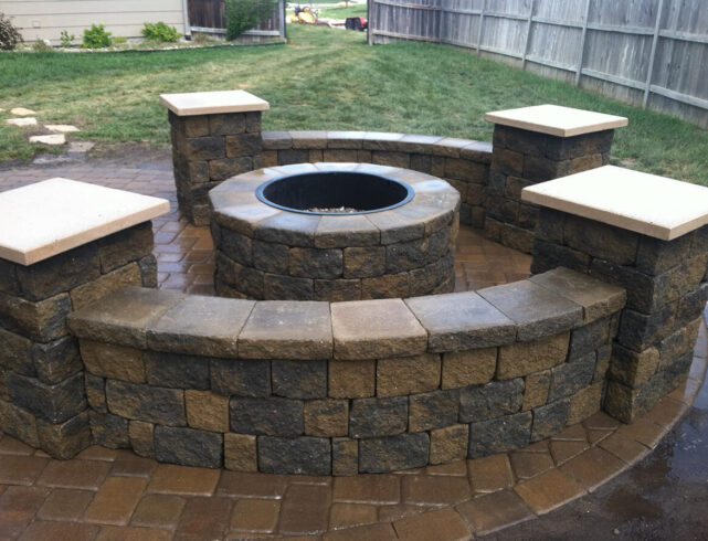 Custom stone patio/stone firepit installation in Wichita, KS