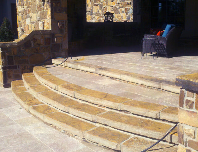 Stone stairway, stone porch patio in Wichita, KS