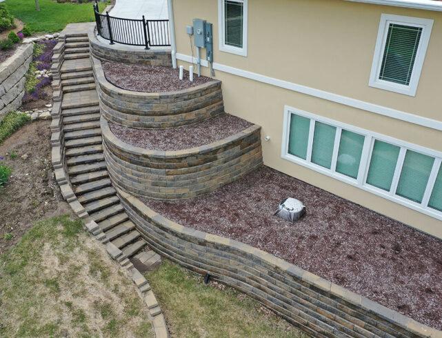 Retaining walls/stone stairway installation in Manhattan, KS