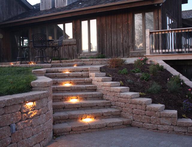 Upper/lower patio paver installation/patio border installation in Rose Hill, KS