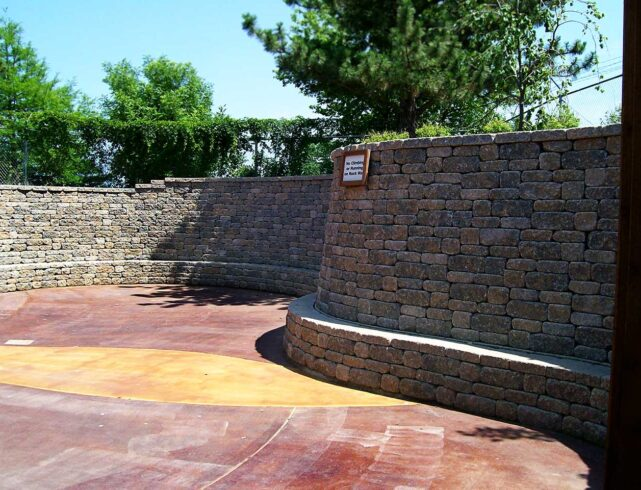 Cargill Learning Center at the Sedgwick County Zoo in Wichita, KS: Retaining wall installation